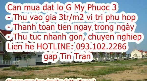 093.102.2286 – Thu mua đất khu G, Mỹ Phước 3 Bình Dương giá cao hơn thị trường 15%